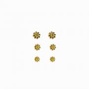 Brinco trio de Margaridas Folheado a Ouro 18k