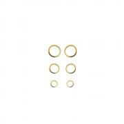 Trio de Brinco Círculos Vazado Folh a Ouro 18 k