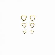 Trio de Brinco Coração Vazado Folh a Ouro 18 k