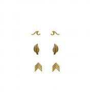 Trio de Brinco Onda, Folhinha e seta folheado a Ouro 18 k