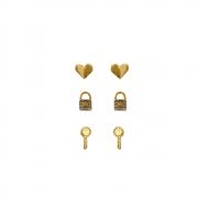 Trio de Brincos Coração, Cadeado e Chave Folheado a Ouro 18 k