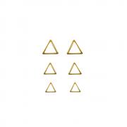 Trio de Brincos Triangulo Folheado a Ouro