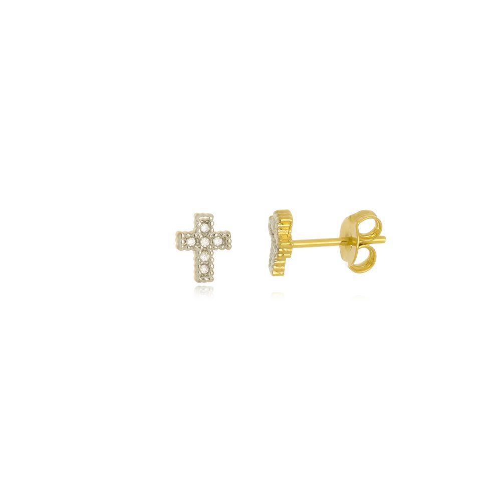 Brinco Cruz com Zircônia Folh a Ouro 18 k  - Constelação Jóias