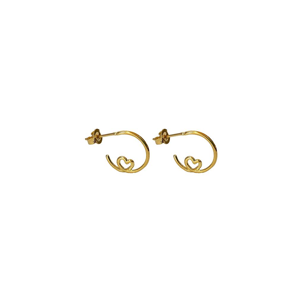 Brinco de Argola de Fio com detalhe Coração Folh a Ouro 18 K  - Constelação Jóias