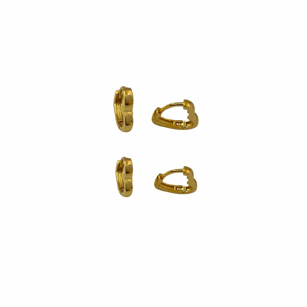 Brinco Duo de Argolinhas Coração folheadas a Ouro 18 k  - Constelação Jóias