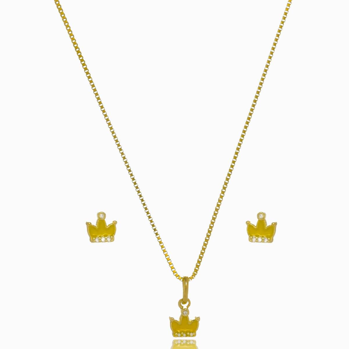 Conjunto Infantil Coroa Fl Ouro 18K  - Constelação Jóias