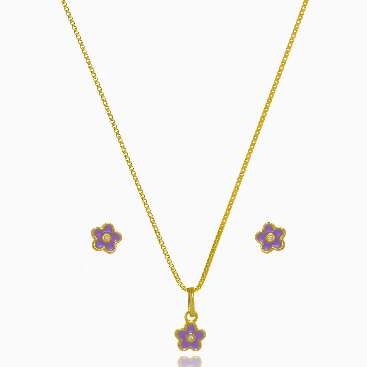 Conjunto Infantil Flor Fl Ouro 18 K  - Constelação Jóias