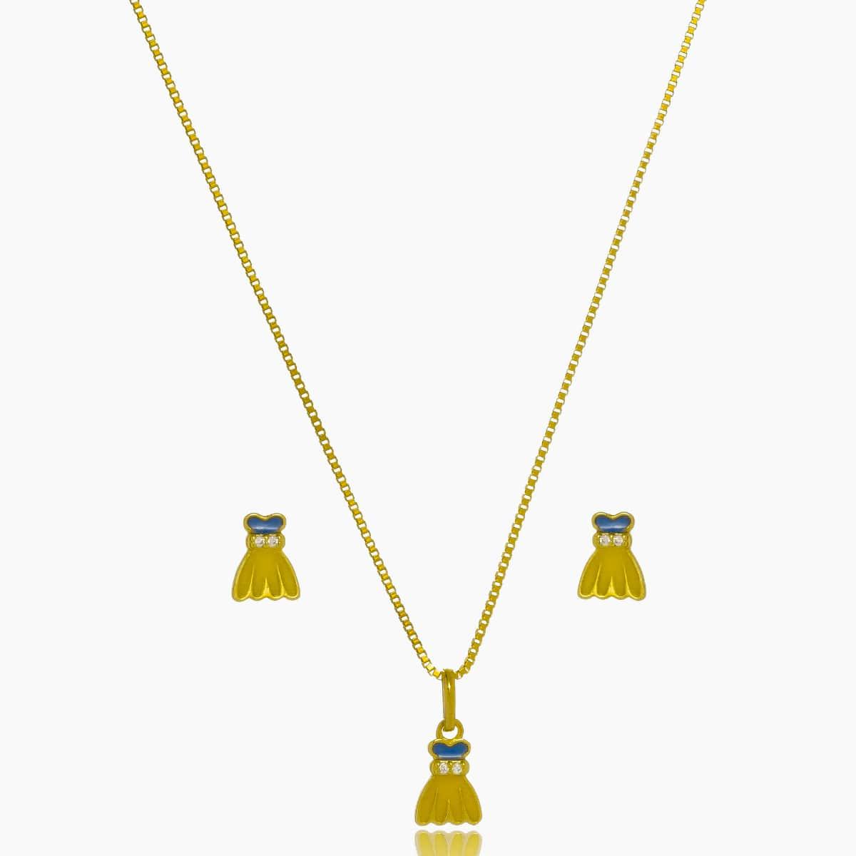 Conjunto Infantil Vestido com Pedra Fl Ouro 18K  - Constelação Jóias