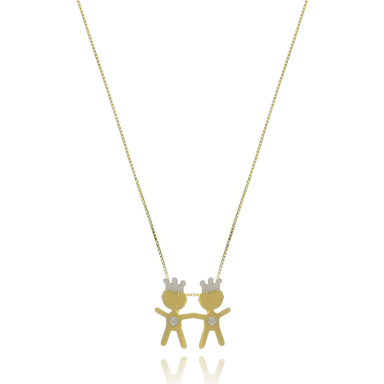 Gargantilha 2 Meninos com Coroa  - Constelação Jóias