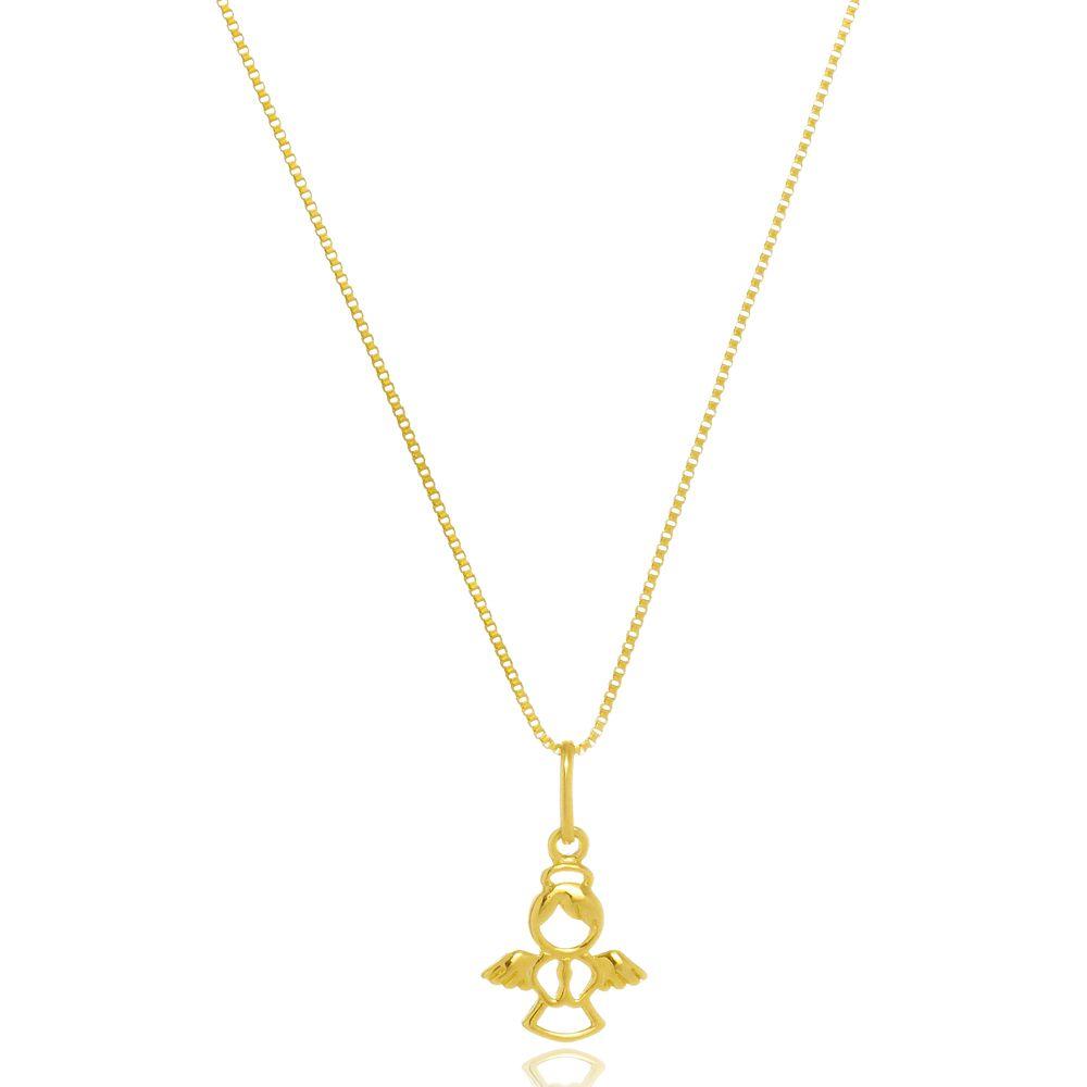 Gargantilha Anjo da Guarda Folheada a Ouro 18 k  - Constelação Jóias