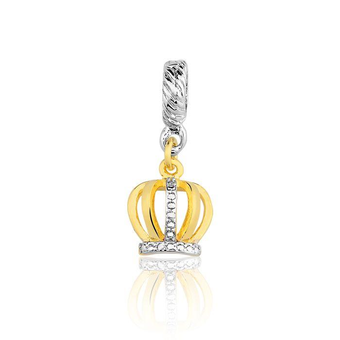 Pingente Berloque Coroa da Rainha Folheado a Ouro 18K  - Constelação Jóias
