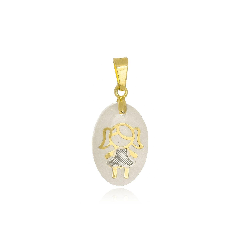 Pingente Oval Menina Folheado a Ouro 18K  - Constelação Jóias