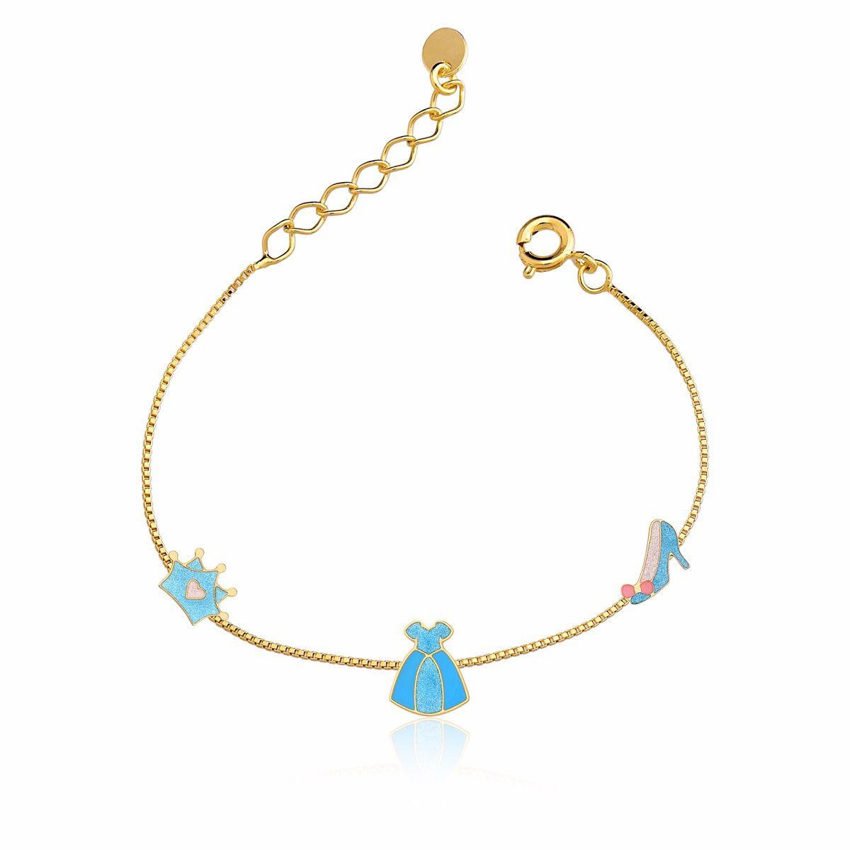 Pulseira Vestido e Coroa de Princesa Azul Fl Ouro 18k   - Constelação Jóias