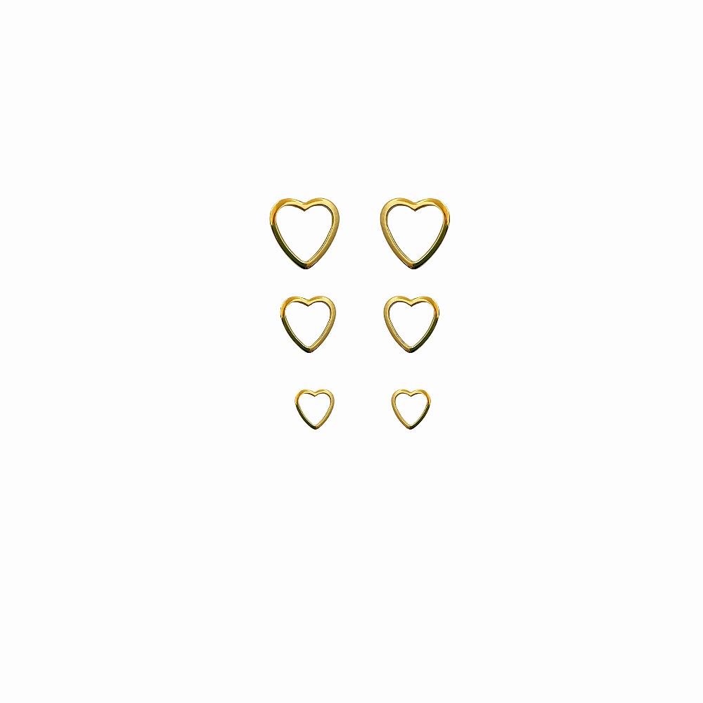 Trio de Brinco Coração Vazado Folh a Ouro 18 k  - Constelação Jóias