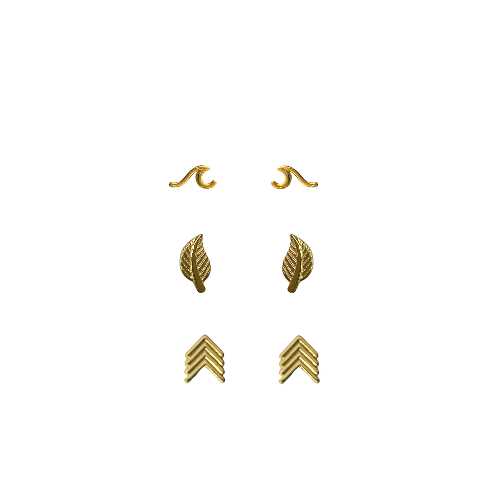 Trio de Brinco Onda, Folhinha e seta folheado a Ouro 18 k  - Constelação Jóias