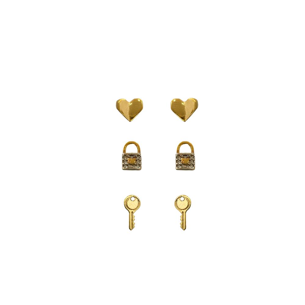 Trio de Brincos Coração, Cadeado e Chave Folheado a Ouro 18 k  - Constelação Jóias