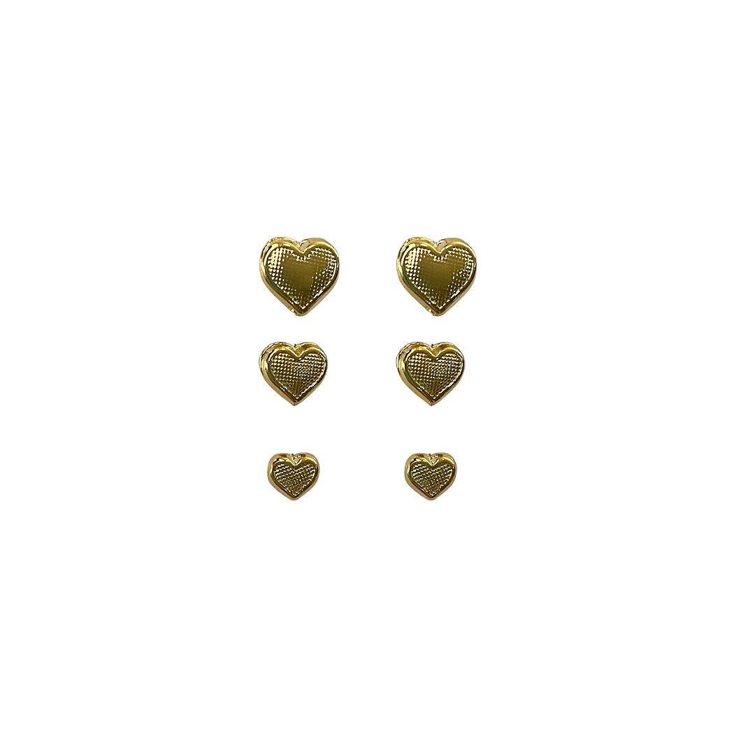 Trio de Brincos Corações Folheado a Ouro  - Constelação Jóias