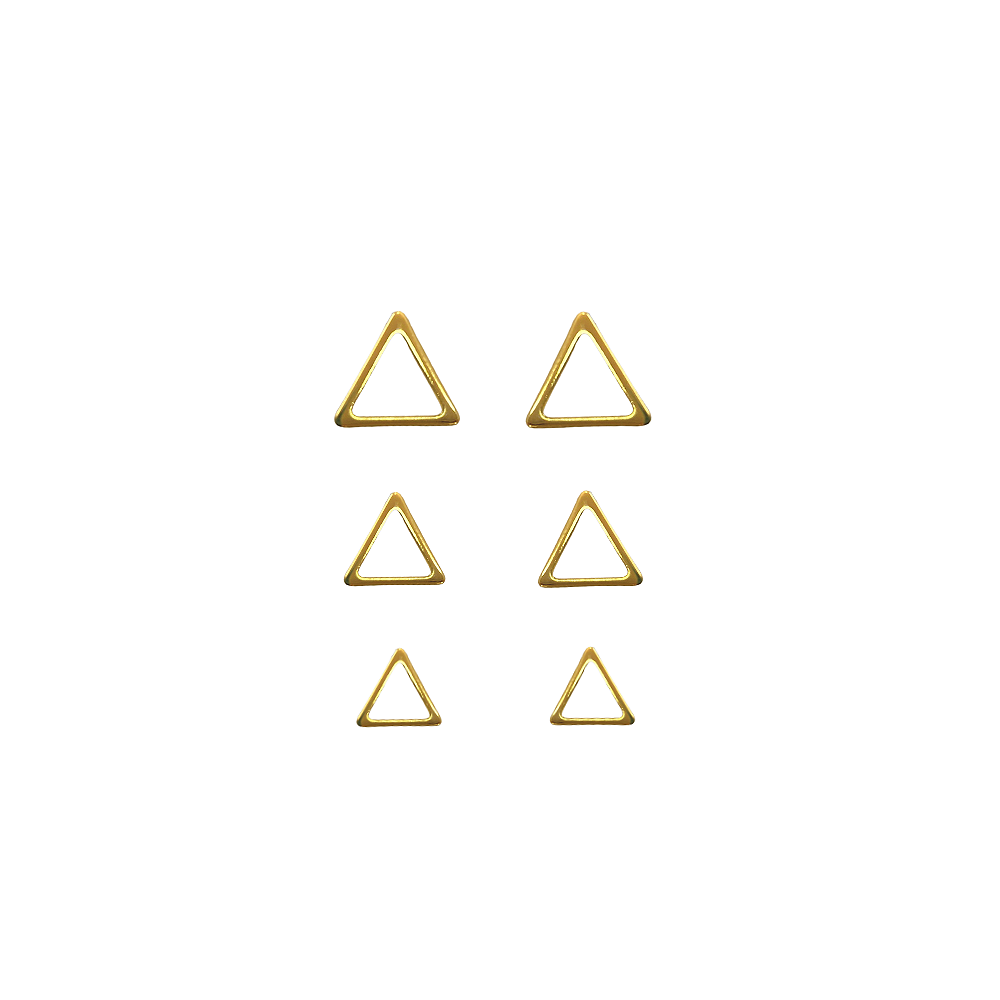 Trio de Brincos Triangulo Folheado a Ouro  - Constelação Jóias
