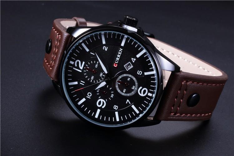 73538f0c16a Relógio Masculino Casual Pulseira Couro 30m - Branco - FRC Magazine