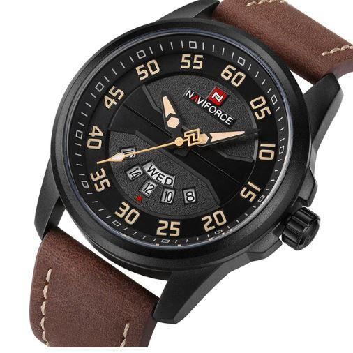 7e4860862d1 Relógio Masculino Inox Pulseira Couro 30m - Preto e Marrom - FRC ...