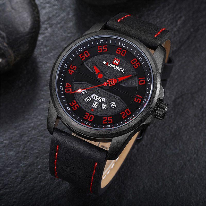 489a692ed1b Relógio Masculino Inox Pulseira Couro 30m - Preto e Vermelho - FRC ...