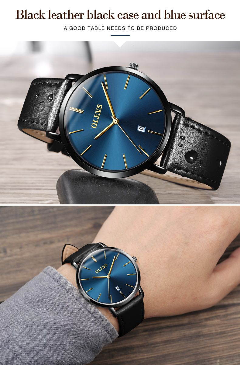 18895629630 ... Relógio Masculino Social Ultrafino Pulseira Couro Olevs - Preto ...
