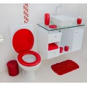 Assento Sanitário Almofadado Banheiro Oval Vermelho Astra