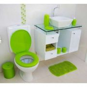 Assento Sanitário Almofadado Banheiro Oval Verde Abaca Astra