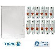 Quadro De Distribuição Tigre + 12 Disjuntores Mono 10 A 32a
