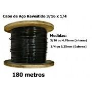 Cabo de Aço Revestido Super Flexível 3/16 x 1/4 Academia Fitness  180 Metros