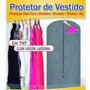 Capa Protetora para Vestidos em Tnt com Ziper e Visor 6 Pças