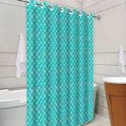 Cortina para Box 3D Azul Tiffany com Ilhós 138cm x 198c