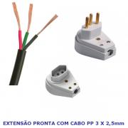 Extensão Elétrica Cabo Fio Pp 3 x 2,5mm 20a Reforçado