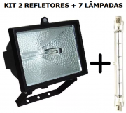 Kit 2 Refletores Preto Halógeno +7 Lâmpada 500w 220v