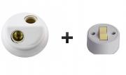 Plafonier Branco Com Bocal De Louça Duplo E-27 2pçs + Interruptor ext