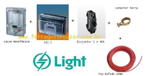 Kit Instalação Medidor Relógio Monofásico Padrão Light 5 Peças