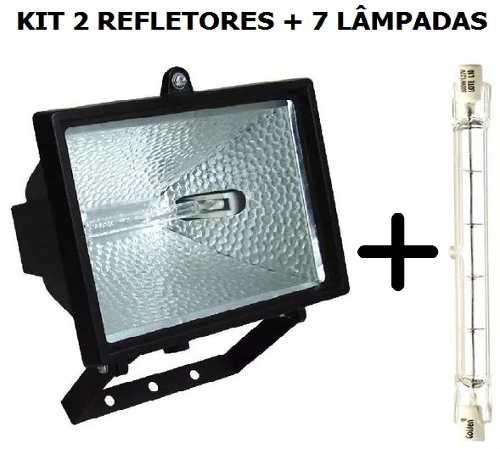 Kit 2 Refletores Preto Halógeno +7 Lâmpada 500w 127v