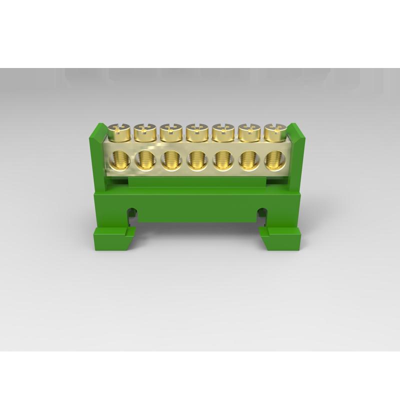 Barramento Borneira 7 Furos Verde Com Suporte para Trilho