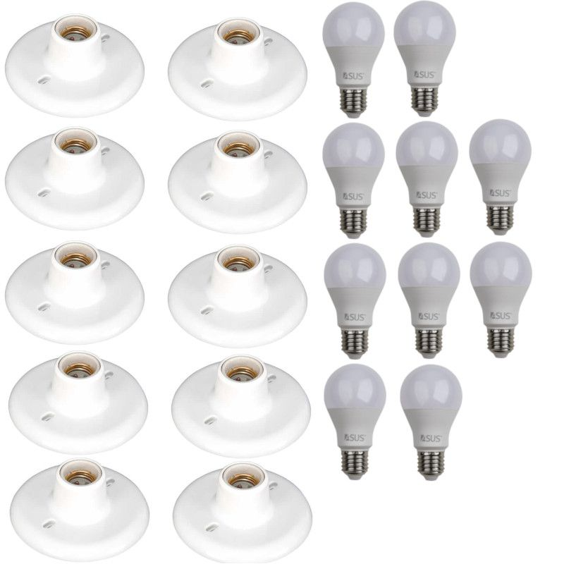 Kit 10 Luminária Plafon Branco + 10 Lâmpadas Led 9w Bivolt