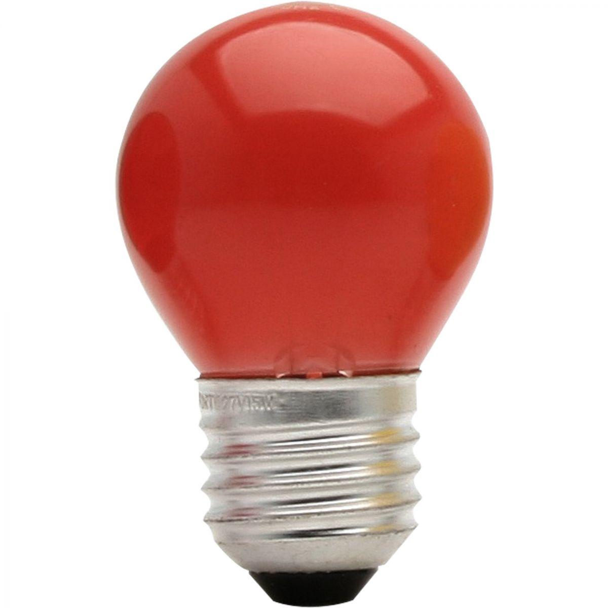 Lâmpada Bolinha 15w 127v Rosca E-27 Vermelha