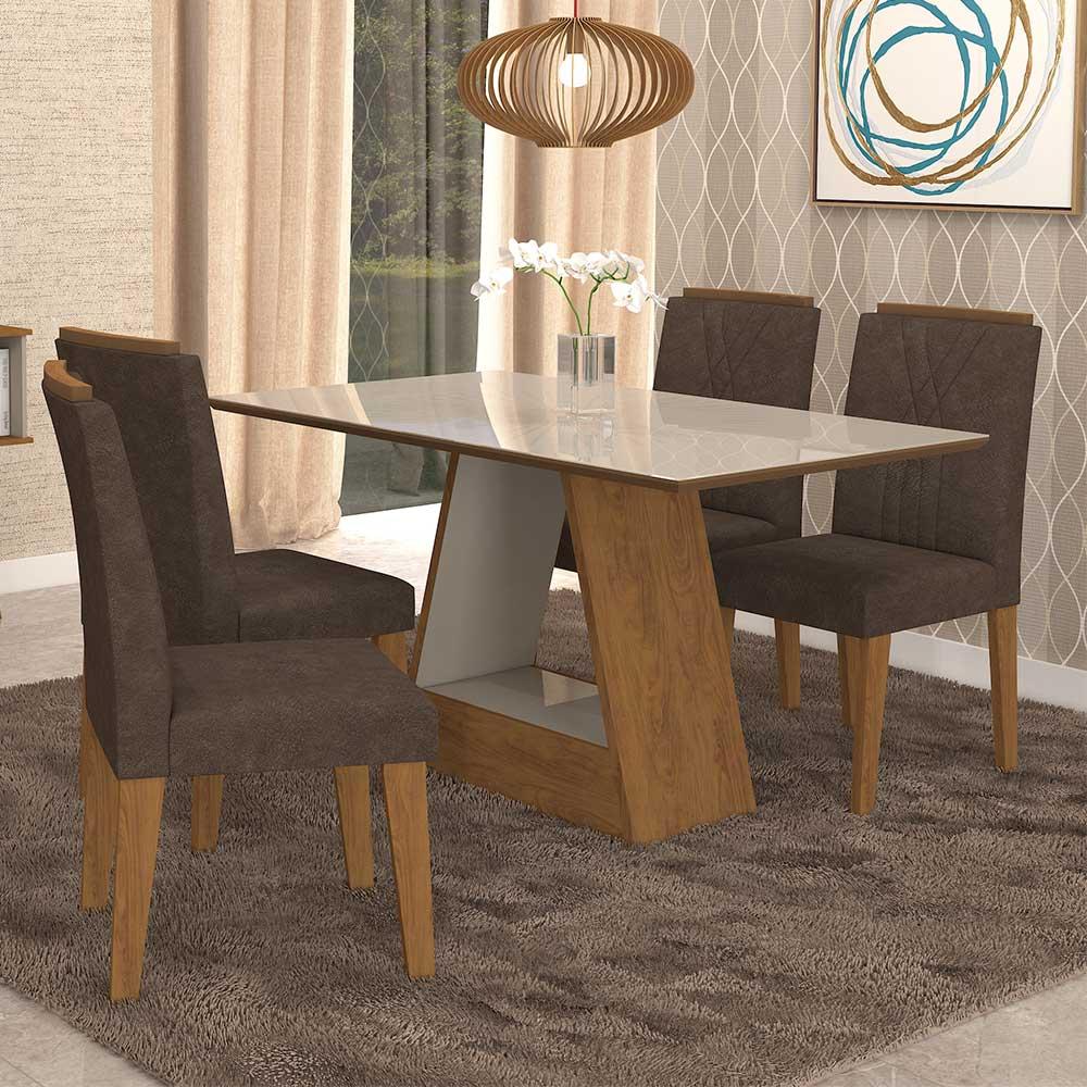 3dc7dc9cd Mesa Para Sala de Jantar Alana 130 x 80 cm e 4 Cadeiras Nicole Cimol Savana  ...