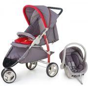 Carrinho 3 Rodas Cross Grafite/ Vermelho com Bebê Conforto - Galzerano