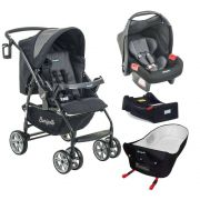 Carrinho de Bebê AT6 K + Bebê Conforto Preto / Cinza + Base e Ninho Pramette - Burigotto