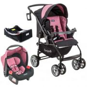 Carrinho de Bebê AT6 K com Cadeira Touring SE Preto com Rosa + Base - Burigotto