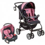 Carrinho de Bebê AT6 K com Cadeira Touring SE Preto com Rosa II - Burigotto