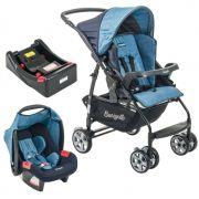 Carrinho de Bebê com Bebê Conforto Rio K Geo Azul + Base - Burigotto