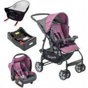 Carrinho de Bebê com Bebê Conforto Rio K Geo Rosa + Base + Ninho Pramette - Burigotto