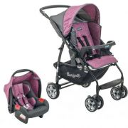 Carrinho de Bebê com Bebê Conforto Rio K Geo Rosa - Burigotto