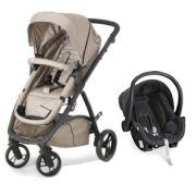 Carrinho de Bebê Maly Black Beige + Bebê Conforto Cocoon - Dzieco