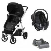 Carrinho De Bebê Maly Preto / Branco + Bebê Conforto + Base - Dzieco